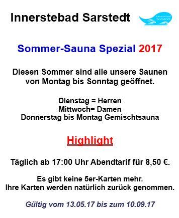 Plakat Sommer-Sauna-Aktion